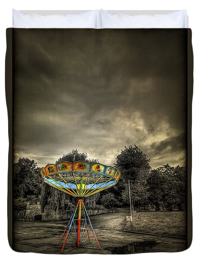 Carousel Duvet Cover featuring the photograph No More Rides by Evelina Kremsdorf