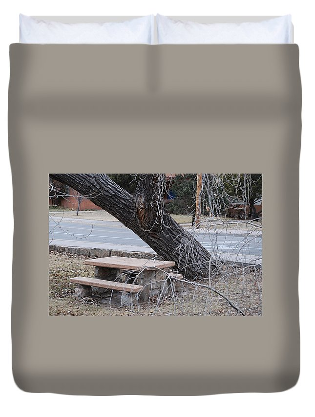 Trees Duvet Cover featuring the photograph No One Sits Here by Rob Hans