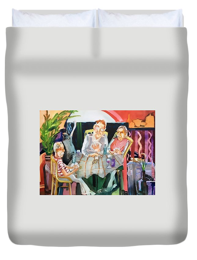 Card Game Duvet Cover featuring the painting No Peeking by Shane Guinn