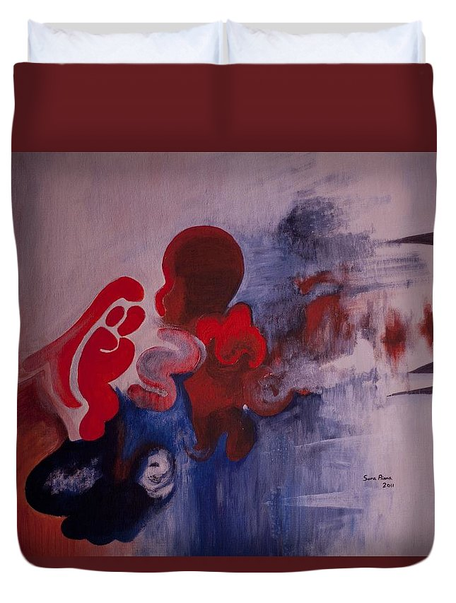 Abstract Duvet Cover featuring the painting No Stress by Sara Pinna