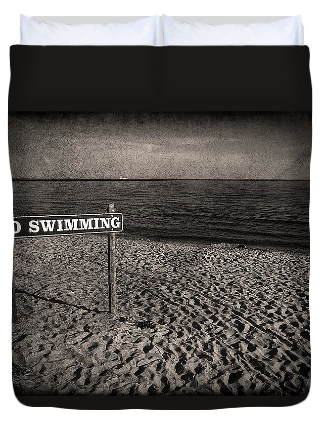 Sign Duvet Cover featuring the photograph No Swimming by Evelina Kremsdorf