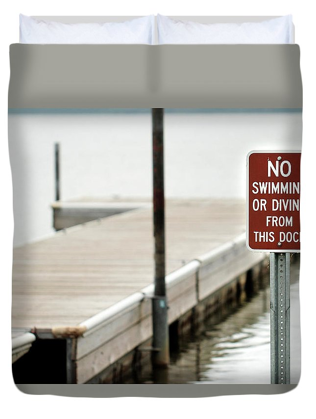Swimming Duvet Cover featuring the photograph No Swimming Or Diving by Heather Ellis