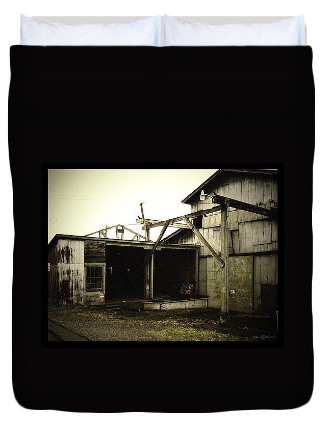 Warehouse Duvet Cover featuring the photograph No Trespassing by Tim Nyberg