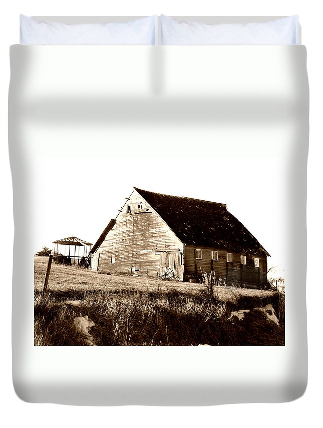 Barn Duvet Cover featuring the digital art No Use by Julie Hamilton