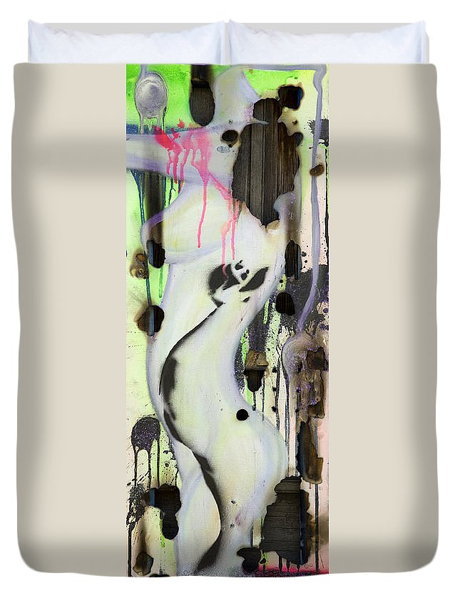 Woman Duvet Cover featuring the painting No Winners In Love by Sheridan Furrer