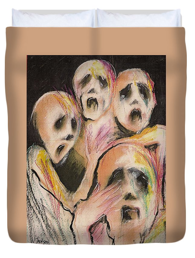 War Cry Tears Horror Fear Darkness Duvet Cover featuring the mixed media No Words by Veronica Jackson