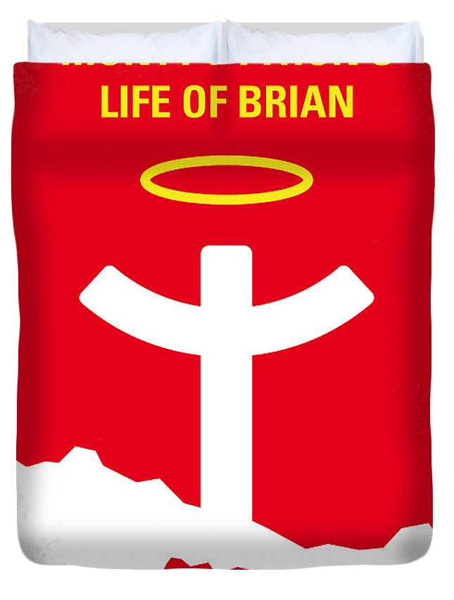Monty Duvet Cover featuring the digital art No182 My Monty Python Life of brian minimal movie poster by Chungkong Art