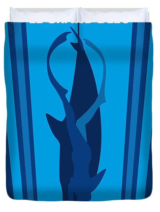 Big Duvet Cover featuring the digital art No577 My Big Blue Minimal Movie Poster by Chungkong Art