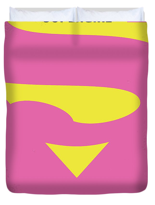 Supergirl Duvet Cover featuring the digital art No720 My Supergirl Minimal Movie Poster by Chungkong Art