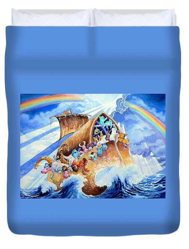 Noahs Arc Mural Duvet Cover featuring the painting Noahs Ark by Hanne Lore Koehler