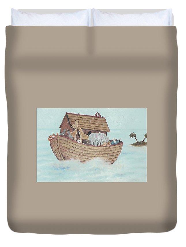 Noah Duvet Cover featuring the painting Noah's Ark by Suzn Art Memorial