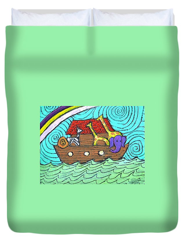 Children's Duvet Cover featuring the painting Noahs Ark Two by Wayne Potrafka