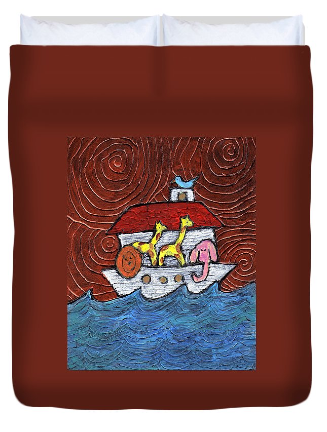 Noah Duvet Cover featuring the painting Noahs Ark With Blue Bird by Wayne Potrafka