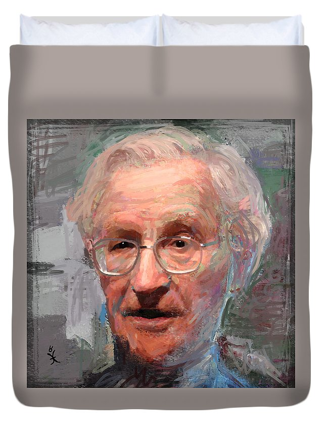Noam Duvet Cover featuring the painting Noam Chomsky Portrait 1059 by Maciej Mackiewicz