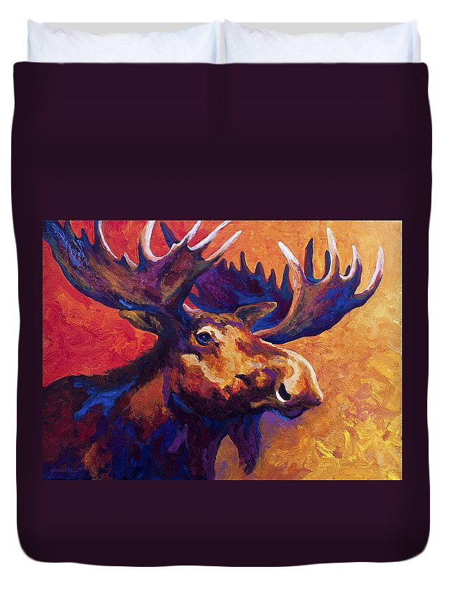 Moose Duvet Cover featuring the painting Noble Pause by Marion Rose