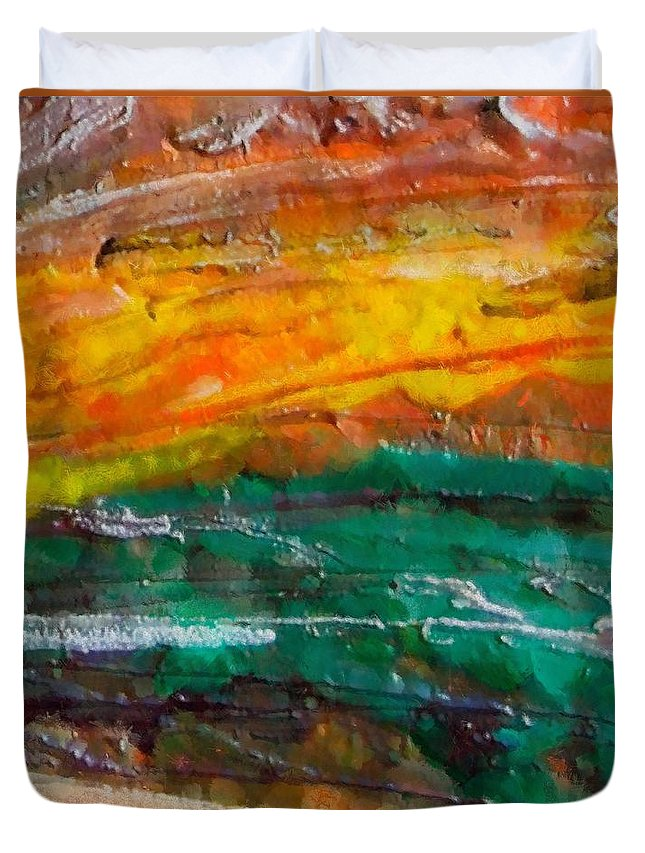 Nobody Landscape Duvet Cover featuring the painting Nobody Landscape by Dragica Micki Fortuna