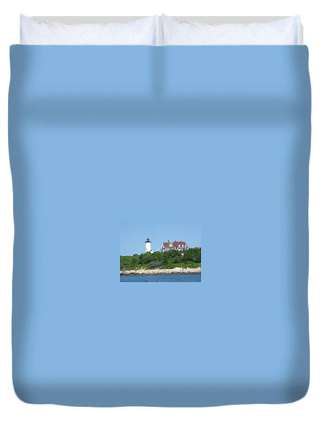 Woods Hole Duvet Cover featuring the photograph Nobska Point Lighthouse by Donna Walsh