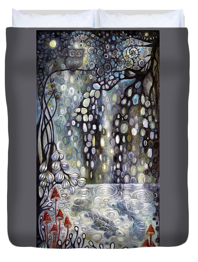 Nocturnal Duvet Cover featuring the painting Nocturnal by Manami Lingerfelt