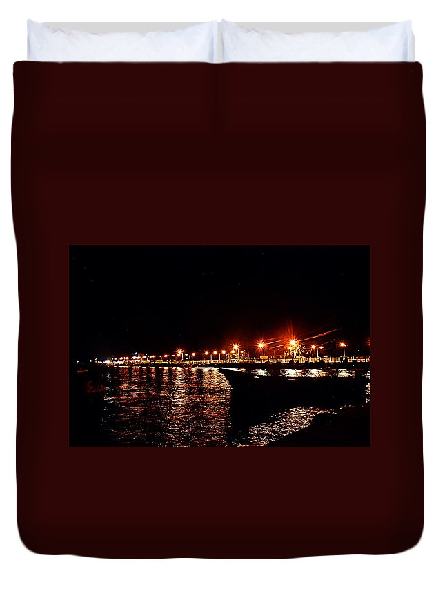 Nocturne Duvet Cover featuring the photograph Nocturne Boat by Galeria Trompiz