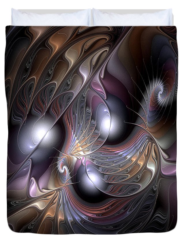 Abstract Duvet Cover featuring the digital art Nocturne For New Orleans by Casey Kotas