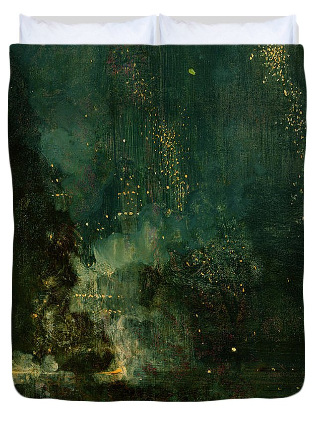 Nocturne Duvet Cover featuring the painting Nocturne In Black And Gold - The Falling Rocket by James Abbott McNeill Whistler