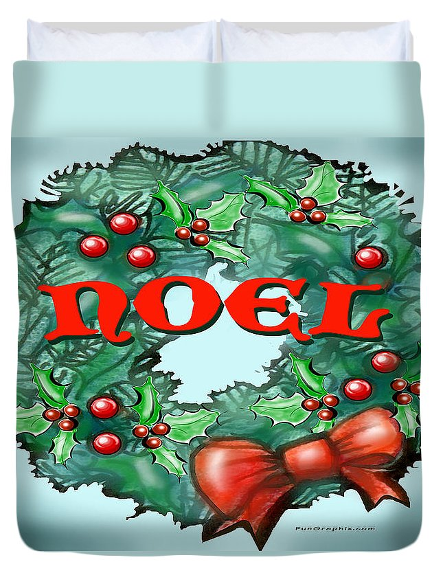 Noel Duvet Cover featuring the greeting card Noel by Kevin Middleton