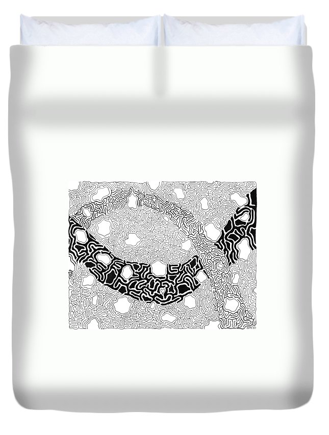 Abstract Duvet Cover featuring the drawing Noetic by Steven Natanson