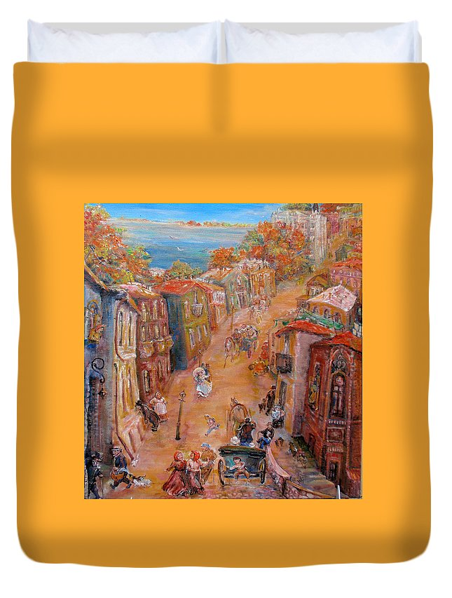 Street Duvet Cover featuring the painting Noisy Street by Natalia Tsariova