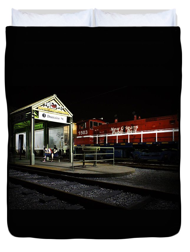 Nola Duvet Cover featuring the photograph New Orleans Train Stop by LuAnn Griffin
