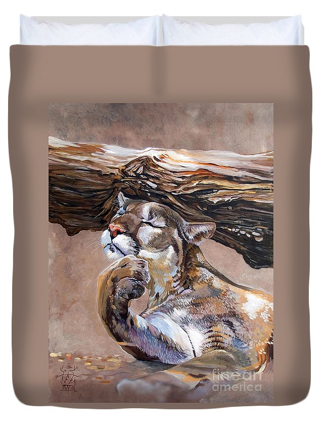 Catamount Duvet Cover featuring the painting Nonchalant by J W Baker