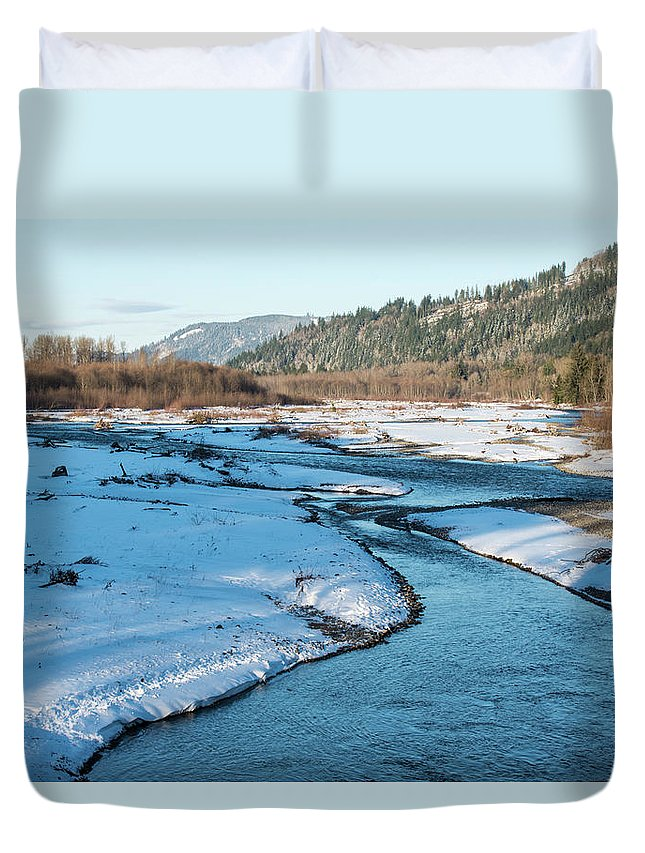 Nooksack River On A December Afternoon Duvet Cover featuring the photograph Nooksack River On A December Afternoon by Tom Cochran
