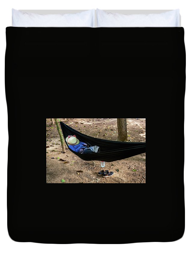 People Duvet Cover featuring the photograph Noon Siesta In Cambodia by Art Phaneuf