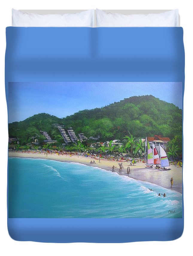 Noosa Duvet Cover featuring the painting Noosa Fun Acrylic Painting by Chris Hobel