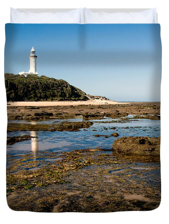 Norah Duvet Cover featuring the photograph Norah Head Lighthouse by Nicholas Blackwell