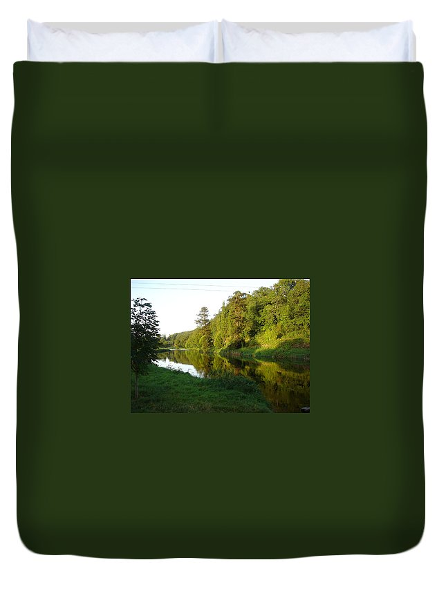 Nore Duvet Cover featuring the photograph Nore Reflections I by Kelly Mezzapelle