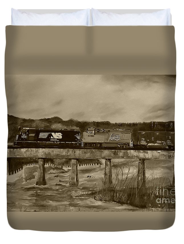 Trestle Duvet Cover featuring the painting Norfolk Train - Chattahoochee River - Sepia by Jan Dappen
