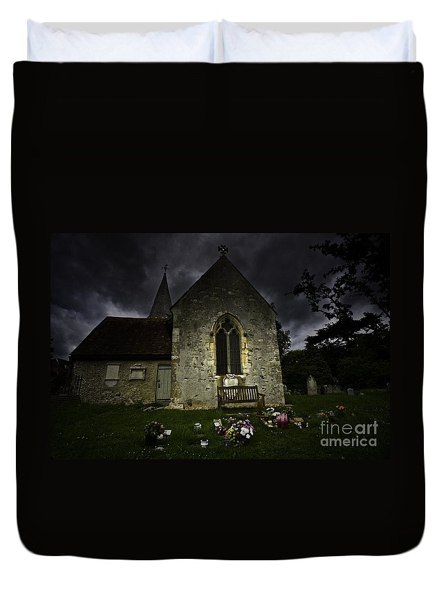 Church Duvet Cover featuring the photograph Norman Church At Lissing Hampshire England by Sheila Smart Fine Art Photography