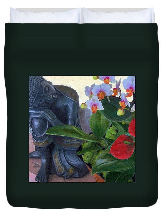 Buddha Duvet Cover featuring the drawing Norma's Buddha by Robyn Siani
