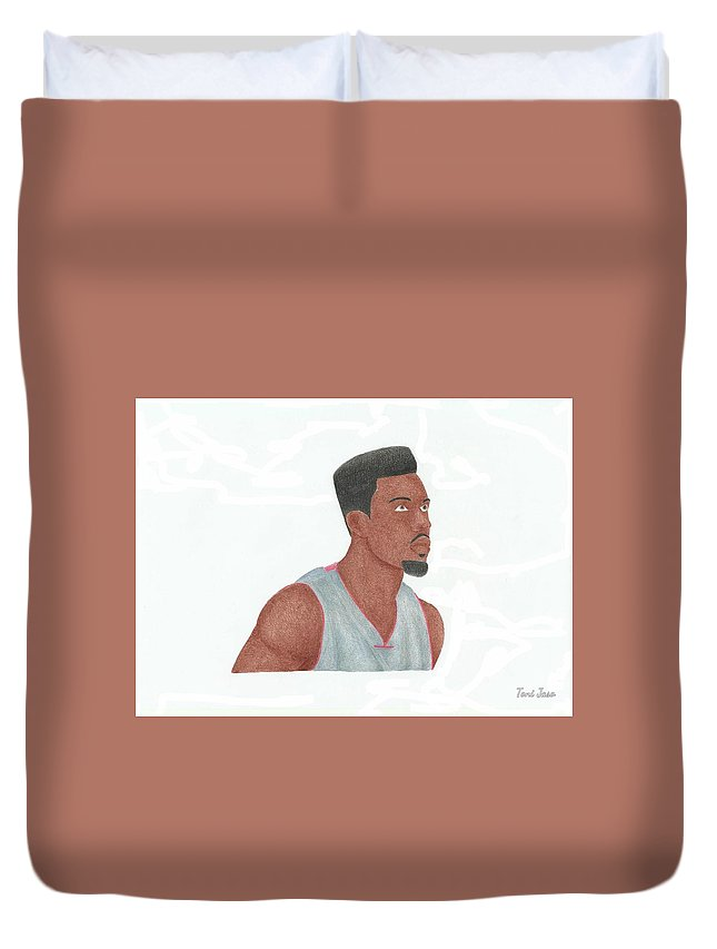 Basketball Duvet Cover featuring the drawing Norris Cole by Toni Jaso