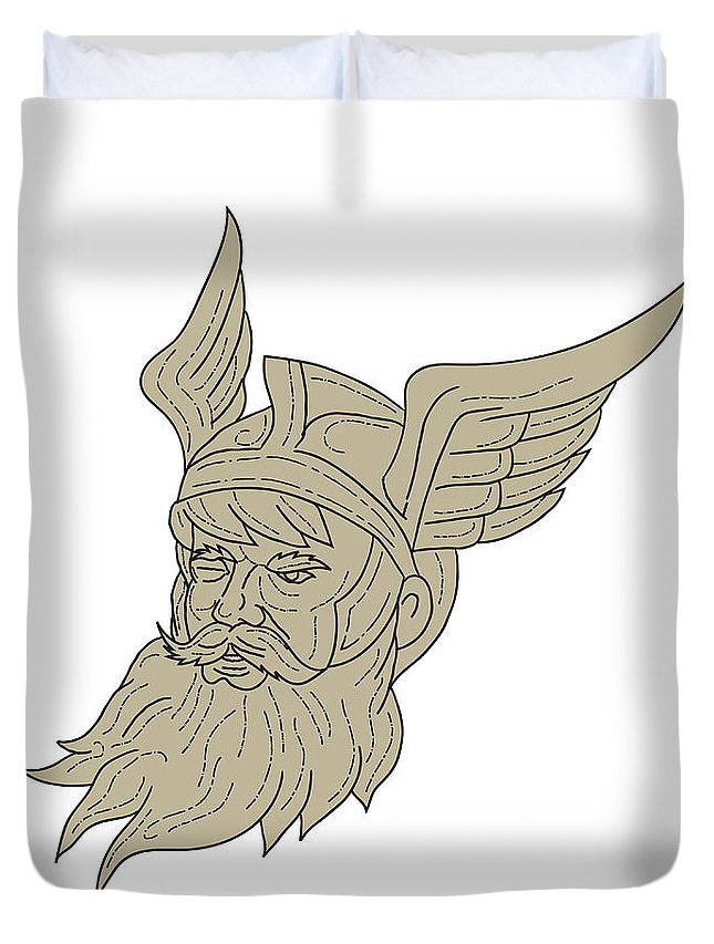 Drawing Duvet Cover featuring the digital art Norse God Odin Head Drawing by Aloysius Patrimonio