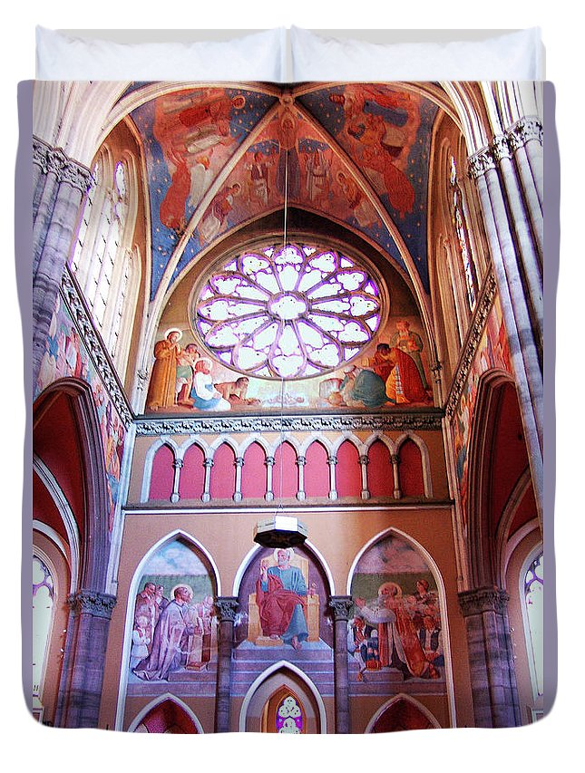 Church Duvet Cover featuring the photograph North Aisle - Sanctuary In Osijek Cathedral by Jasna Dragun
