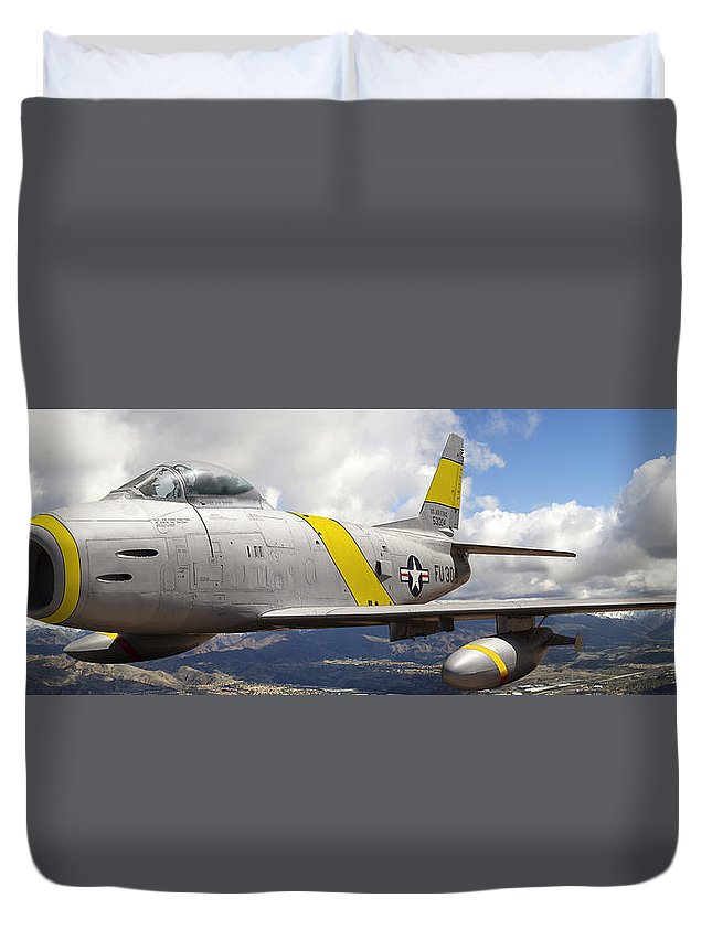 F-86 Sabre Duvet Cover featuring the photograph North American F-86 Sabre by Larry McManus