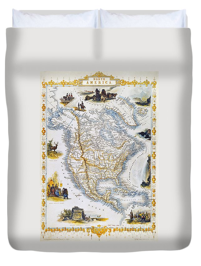 1851 Duvet Cover featuring the photograph North American Map, 1851 by Granger