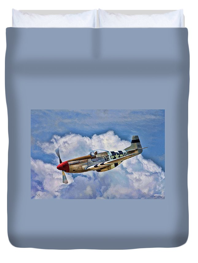 North American Duvet Cover featuring the digital art North American P-51 Mustang by Tommy Anderson