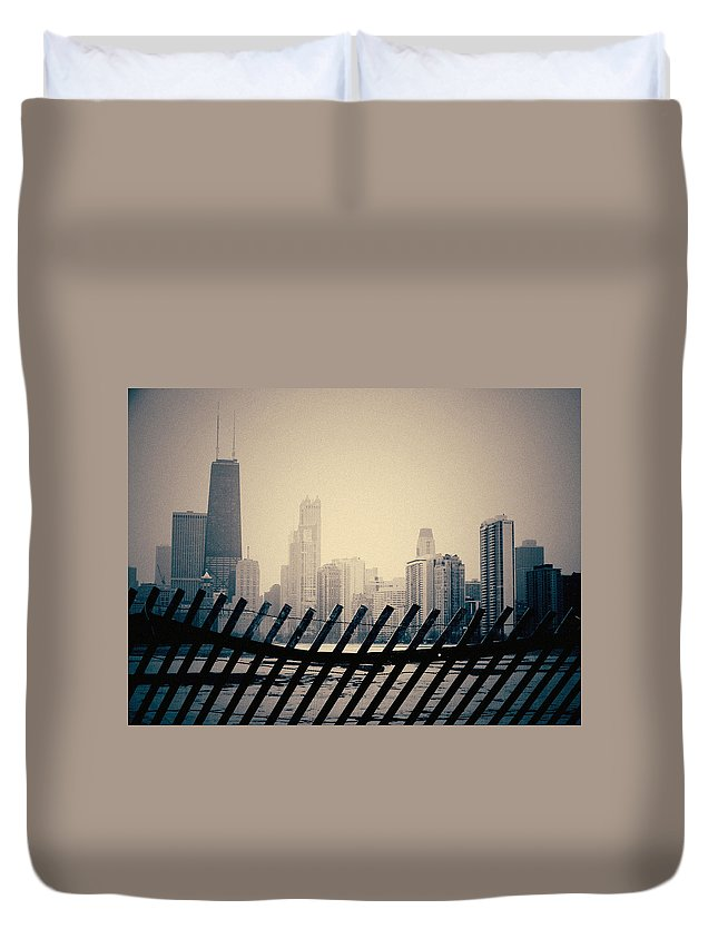 Chicago Duvet Cover featuring the photograph North Avenue Beach Chicago Skyline by Kyle Hanson