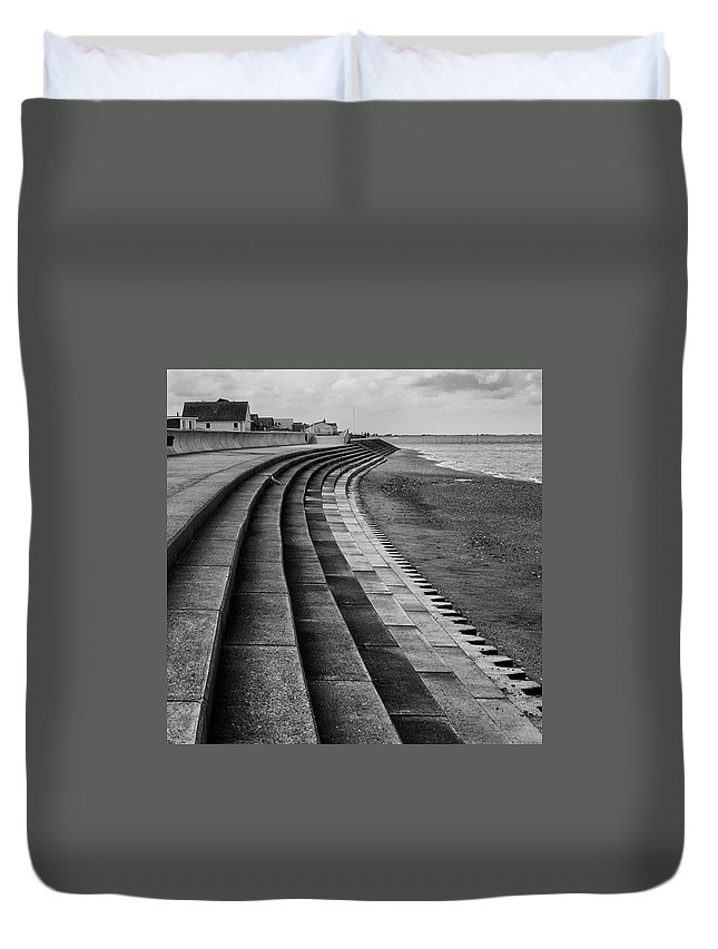 Monochromephotography Duvet Cover featuring the photograph North Beach, Heacham, Norfolk, England by John Edwards