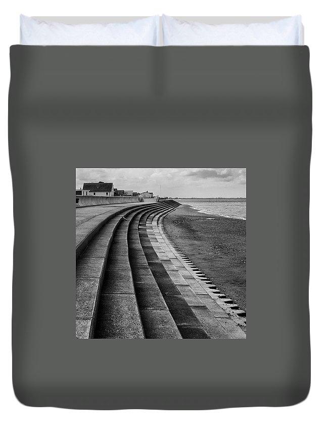 Monochromephotography Duvet Cover featuring the photograph North Beach, Heacham, Norfolk, England by John Edwards