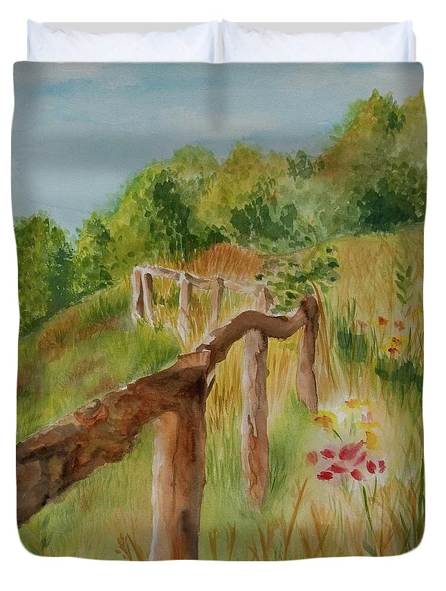 Apple Orchard Duvet Cover featuring the painting North Carolina Apple Orchard by Judy Swerlick
