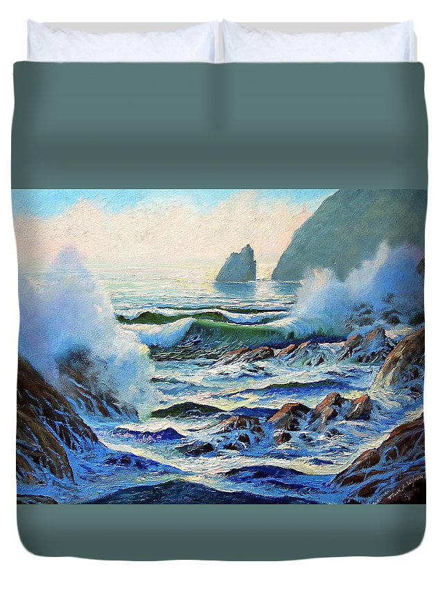 Seascape Duvet Cover featuring the painting North Coast Surf by Frank Wilson