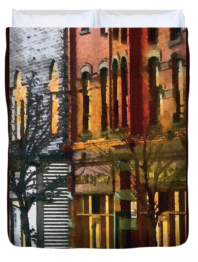 City Duvet Cover featuring the painting North End At Night by RC DeWinter